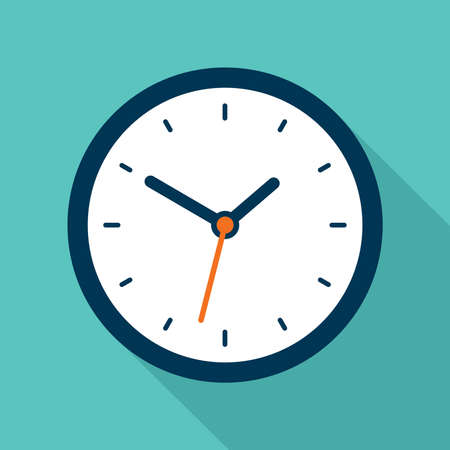 Illustration pour Clock icon in flat style, timer on blue background. Business watch. Vector design element for you project - image libre de droit