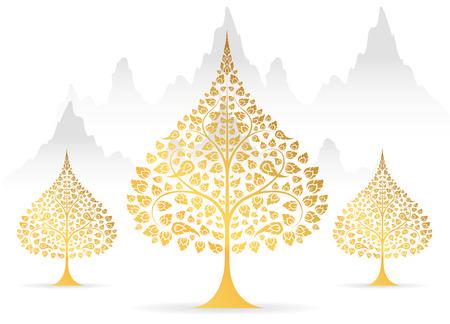 Illustration pour Bodhi tree and leaf gold color of thai tradition vector - image libre de droit