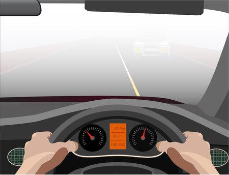 Illustration pour Poor visibility while driving due to dense fog - image libre de droit