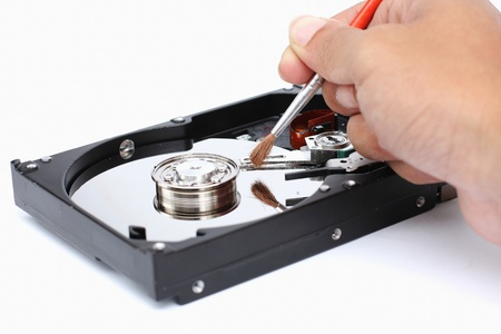 Harddisk cleaner on a white background