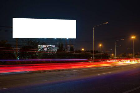 Foto für billboard blank for outdoor advertising poster or blank billboard at night time for advertisement. street light - Lizenzfreies Bild