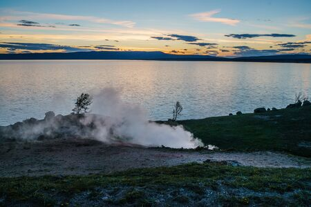 Beautiful Sunset Scenery at a lake in the Yellowstone national park, Wyoming