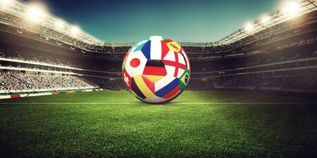 Photo pour Football stadium, shiny lights, view from field. Soccer concept - image libre de droit