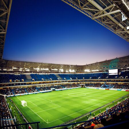 Photo for Football stadium, shiny lights, view from field. Soccer concept - Royalty Free Image