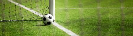 Foto de Traditional soccer game with a leather ball - Imagen libre de derechos