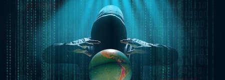 Photo pour Hacker prints a code on a laptop keyboard to break into a cyberspace - image libre de droit