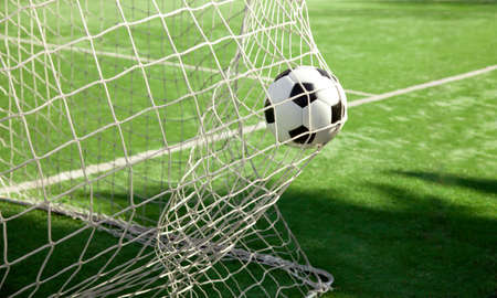 Photo pour Traditional soccer game with a leather ball - image libre de droit