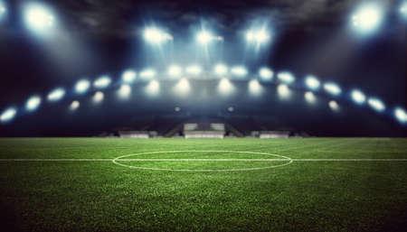 Photo pour Football stadium, shiny lights, view from field. Soccer concept - image libre de droit