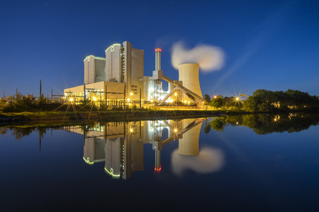 Photo for Power Plant Stoecken by Hannover in Germany at night - Royalty Free Image