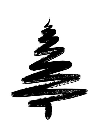 hand drawn Christmas tree isolated on a white backgroundのイラスト素材