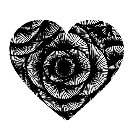 doodle design in heart shaped on white background