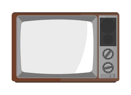 Illustration for brown old tv in flat design - Royalty Free Image