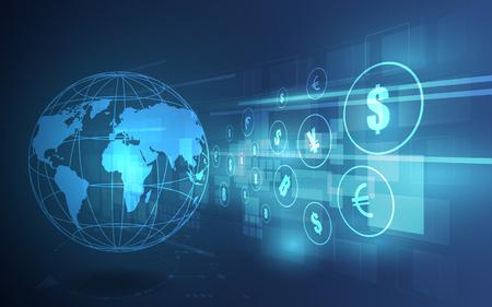 Ilustración de Money transfer. Global Currency. Stock Exchange. Stock vector illustration. - Imagen libre de derechos