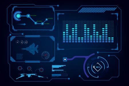 Illustration pour hud gui interface virtual artificial intelligence template - image libre de droit
