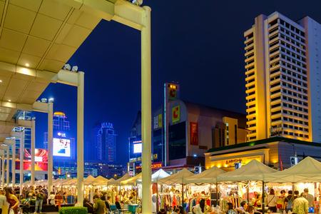 Bangkok, Thailand - January 11, 2015 : Front view of Central World at shopping mall landmark of Capital on Ratchaprasong Road Bangkok., Thailand