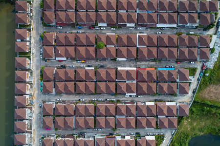 Photo pour Aerial view of roof modern houses village top view image from drone - image libre de droit