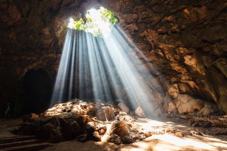 Sun beam in cave