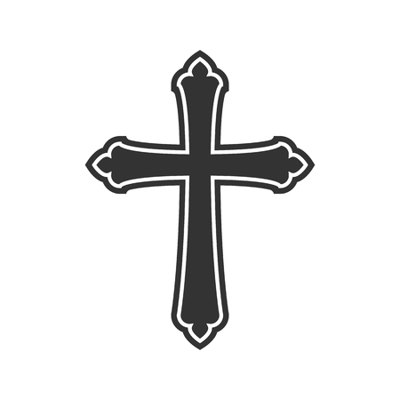 Illustration pour Symbol of a church cross. Christianity religion symbol - image libre de droit