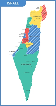 The detailed map of the Israel with regions or states and cities, capitals