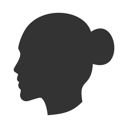 Ilustración de Silhouette of female head, woman face in profile, side view - Imagen libre de derechos