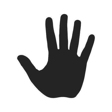Illustration pour Human hand silhouette. Open palm with five fingers. Stop sign. Warning symbol, hazardous icon - image libre de droit