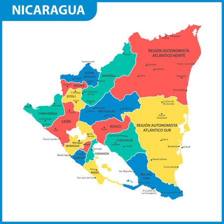 Illustration pour The detailed map of Nicaragua with regions or states and cities, capital. Administrative division. - image libre de droit