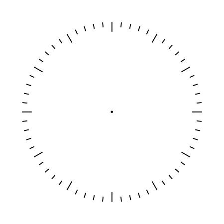 Illustration pour Clock face blank template. Hours and seconds division marks - image libre de droit