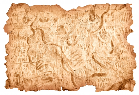 Foto de Treasure Map. Old map drawn on a piece of paper that shows the way to the treasures of pirates. Image isolated over white background. - Imagen libre de derechos