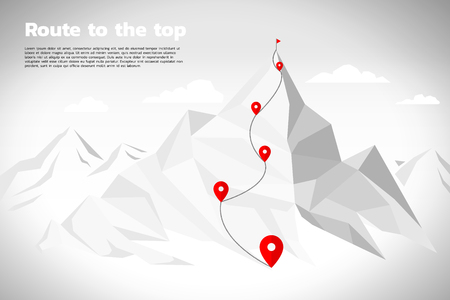 Illustration pour Route to the top of mountain: Concept of Goal, Mission, Vision, Career path, Polygon dot connect line style - image libre de droit