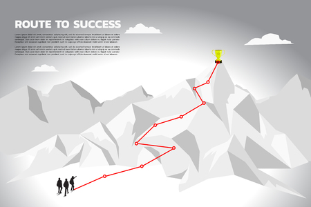 Illustration pour Silhouette team businessman plan to get champion trophy on top of mountain. Concept of teamwork and planning path in business - image libre de droit