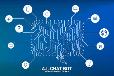 Illustration pour Artificial intelligence Chat bot service with dot connected line style background with circuit board graphic style. speech bubble with various icon. - image libre de droit