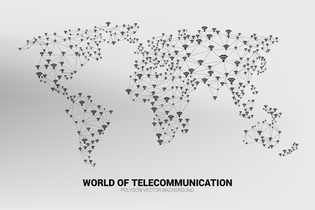Illustration pour Vector Polygon line connect mobile data and wireless icon signage shape the world map. Concept for world telecommunication. - image libre de droit