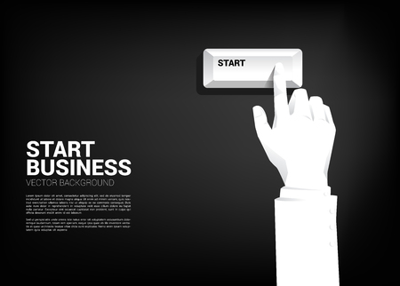 Close up businessman hand press start keyboard button. Concept for Technology for start business