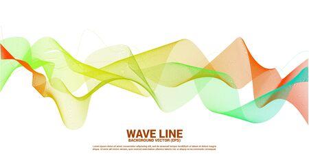 Illustration pour orange green Sound wave line curve on dark background. Element for theme technology futuristic vector - image libre de droit