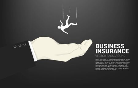 Illustration pour silhouette of businessman falling down in big hand. Concept for safety and insurance business - image libre de droit