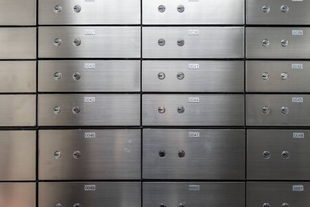 Photo pour Metal safe box panel wall. Concept for sucurity and banking protection. - image libre de droit
