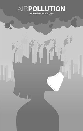 Silhouette girl head with mask and smoke from city and factory. Concept for Air pollution and environment crisis.