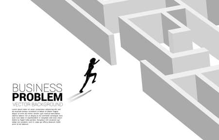 Illustration pour Silhouette of businessman running to enter to maze. Business concept for problem solving and solution strategy - image libre de droit