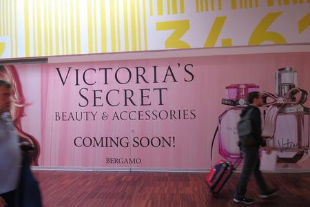 ORIO AL SERIO, BERGAMO, ITALY - CIRCA SEPTEMBER 2015: Victoria's Secret brand store coming soon at the airport of Orio al Serio