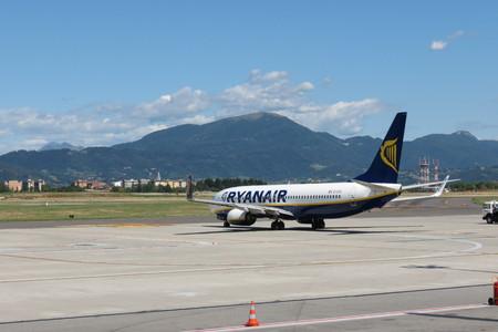 ORIO AL SERIO, BERGAMO, ITALY - CIRCA SEPTEMBER 2015 - Ryanair aircraft Boeing 737-800 on the runway getting ready for take off