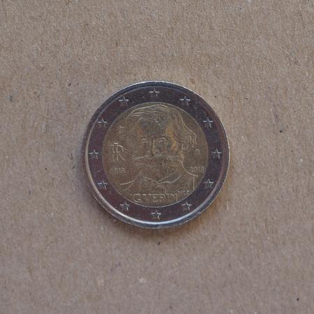 2 euro commemorative coin money (EUR), bearing the portrait of opera musician Giuseppe Verdi (1813-1901) released in 2013