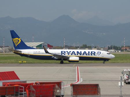 ORIO AL SERIO, ITALY - CIRCA AUGUST 2017: RyanAir Boeing 737-800 during taxi