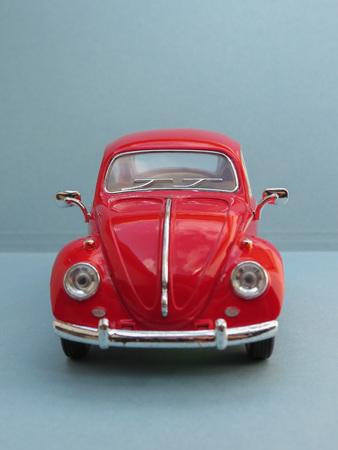 Photo pour WOLFSBURG, GERMANY - CIRCA APRIL 2015: Miniature Representation of Volkswagen Type-1 aka Classical Beetle from 1967, produced as a children's toy in China, circa 2008 - image libre de droit