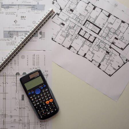 Foto de Detail view of architectural and structural construction drawings with designer tools. Square format. - Imagen libre de derechos