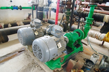 Water pumping station, industrial interiorelectric water pump  and pipes