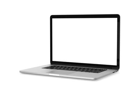 Photo pour Laptop white gray mockup isolated object on white background with clipping path. Working at home and online education concept. - image libre de droit