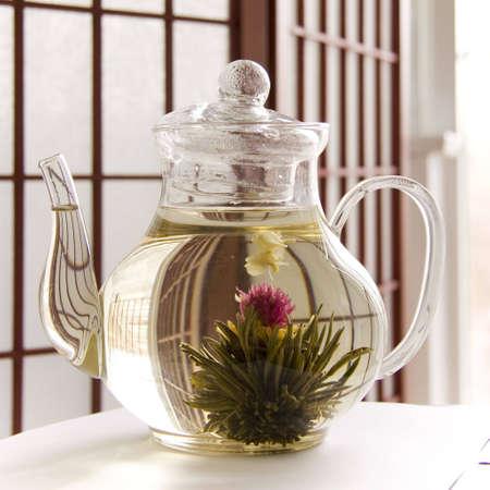A teapot of artisan blooming tea