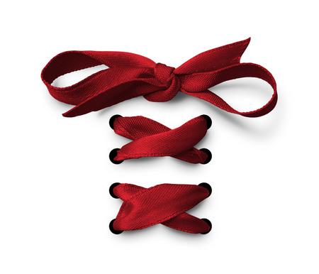 Photo pour Red Shoe lace ribbon - image libre de droit