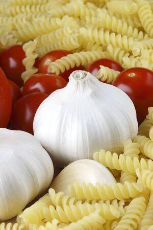 Garlic, pasta and tomatoes