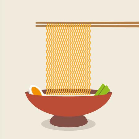 Illustration of chopsticks holding asian noodles.